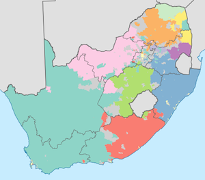 Language map South Africa
